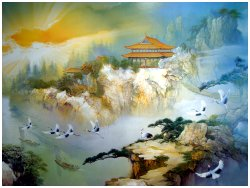 Wallpaper in treatment room the picture includes Cranes flying over pines and rocks passing a Chinese house to the sun shining